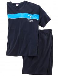Kurzer Schlafanzug mit V-Neck von Adamo Fashion
