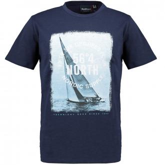 "T-Shirt mit auffälligem ""Segelboot 56°4-NORTH""-Print dunkelblau_0580   4XL"