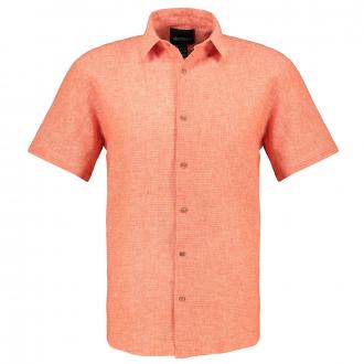 Strukturiertes Kurzarmhemd aus Baumwoll-Leinen-Gemisch orange_0200   6XL
