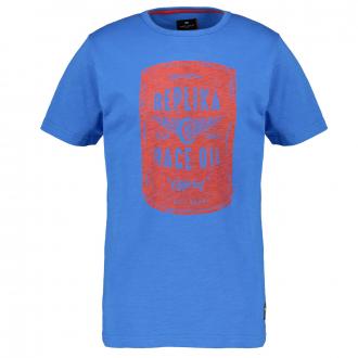 T-Shirt mit Frontprint mittelblau_565 | 4XL