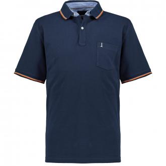 Piqué-Poloshirt mit Kontrastdetails dunkelblau_0580   4XL