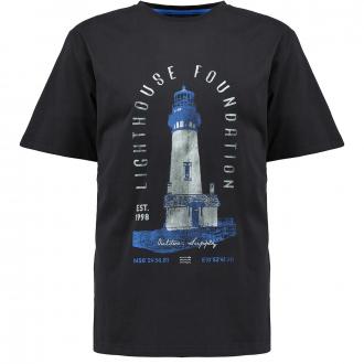 T-Shirt mit gummiertem Leuchtturm-Print schwarz_0099 | 3XL