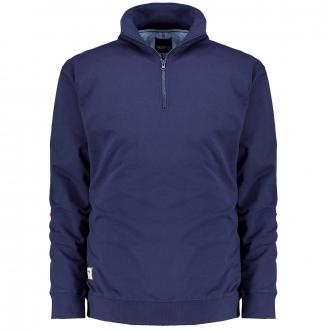 Schlichtes Sweatshirt mit Stehkragen und Zip, langarm dunkelblau_0580   3XL