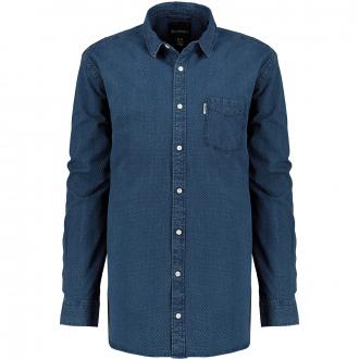 Langarmhemd mit Wabenstruktur blau_0550 | 3XL