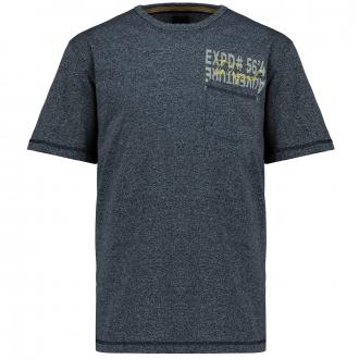 "Meliertes Shirt ""EXPD#56`4"" dunkelblau_0580 | 3XL"