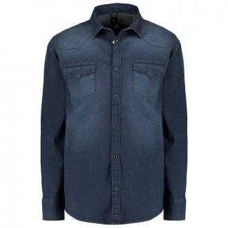 Leichtes Jeanshemd im Westernstyle mit Stretchanteil jeansblau_0597 | 3XL