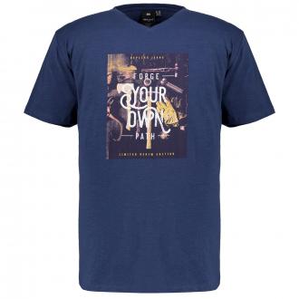"""T-Shirt mit V-Ausschnitt und gummiertem """"Your Own Path""""-Print blau_0580   3XL"""