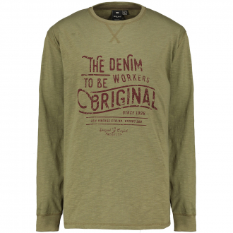 "Longsleeve mit ""The Denim To Be Workers Original""-Print oliv_0660 