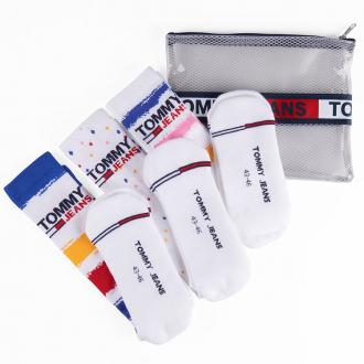 3er-Pack gemusterte Socken inkl. Hilfiger Zip-Beutel weiß_001 | 43-46
