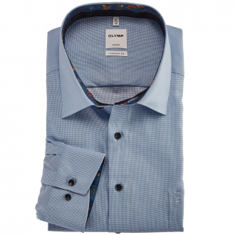 Bügelfreies Langarmhemd mit auffälligem Kontrastausputz blau_11 | 46