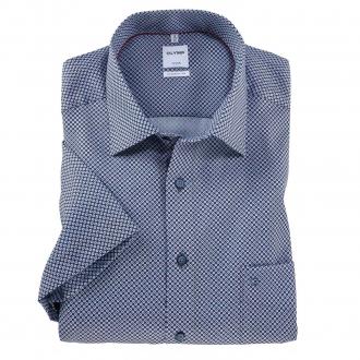 Bügelfreies Cityhemd mit Alloverprint, kurzarm blau_35/40 | 50