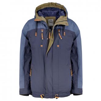Warme Outdoor-Jacke, wind- und wasserdicht, mit Cord-Details dunkelblau_218   3XL