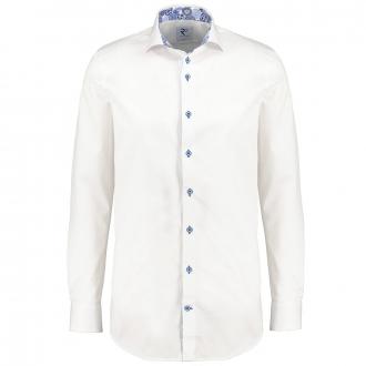 Modisches Langarmhemd mit Haifischkragen und bedrucktem Ausputz weiß_004 | 4XL