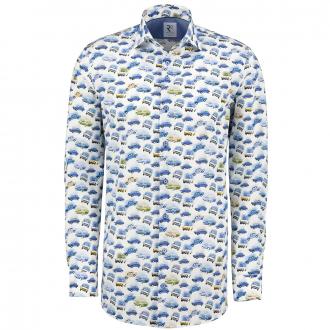 "Hochwertiges Langarmhemd mit ""Oldtimer"" Print blau/weiß_014 | 3XL"