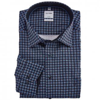 Langarmhemd mit auffälligem Alloverprint blau_11 | 46