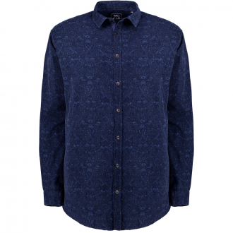 Feincord Hemd mit Musterung dunkelblau_91 | 3XL
