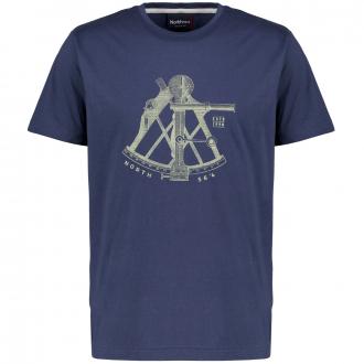 T-Shirt aus weichem Baumwollstretch mit Print dunkelblau_0580   3XL