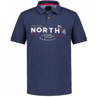 Poloshirt aus Baumwoll-Piqué mit maritimer Letter-Stickerei, kurzarm dunkelblau_0580 | 3XL