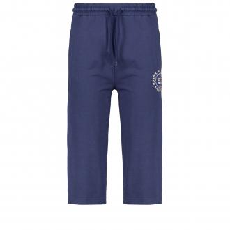 Jogging-Hose mit Kontrastdetails und Print, dreiviertellang dunkelblau_0580 | 3XL