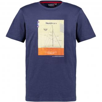 T-Shirt mit maritimen Print, kurzarm dunkelblau_0580 | 3XL