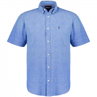 Freizeithemd aus kühlem Baumwoll-/Leinenmix,  kurzarm blau_585 | 3XL