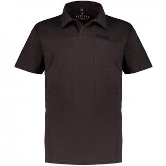 Baumwoll-Poloshirt  in Flammgarnoptik mit Brusttasche, kurzarm schwarz_0099 | 3XL