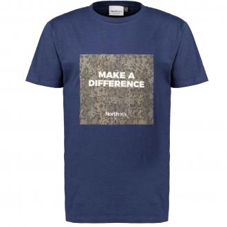 T-Shirt mit dekorativem Statement-Print, kurzarm dunkelblau_0580 | 3XL