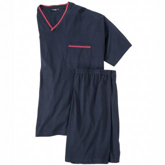 Kurzer Schlafanzug mit V-Ausschnitt dunkelblau_360 | 3XL