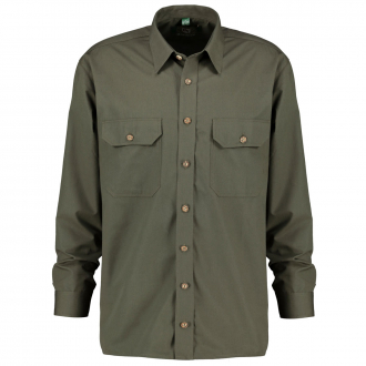 Trachtenhemd mit 2 Brusttaschen, langarm waldgrün_56   3XL