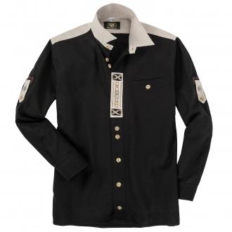 Klassisches Langarmhemd im Landhausstil schwarz_70 | 3XL
