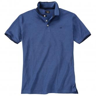 Meliertes Poloshirt mit dezenter Logo-Stickerei kurzarm blau_TRUENAVY | 3XL