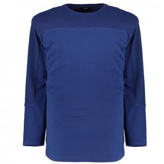 Baumwollshirt mit Ton-in-Ton-Einsätzen, langarm blau_BLUE | 4XL