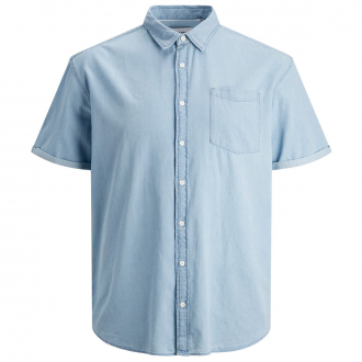 Sommerlich, leichtes Jeans Hemd, kurzarm hellblau_LIGHTBLUEDENIM | 7XL