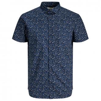Lässiges Freizeithemd mit floralem All-Over Print, kurzarm blau_NAVYBLAZER   5XL