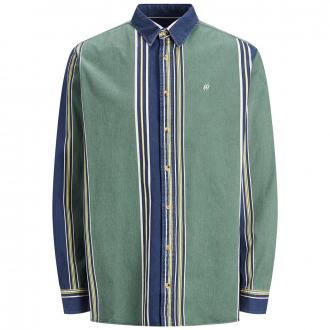 Individuell gestreiftes Freizeithemd, langarm - jedes Teil ein Unikat! blau/grün_TREKKING   6XL