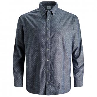 Smartes Freizeithemd, gepunktet blau_NAVYBLAZER | 5XL