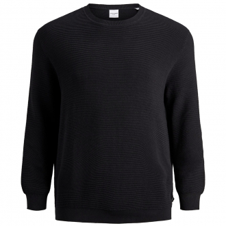 Baumwollpullover mit Struktur schwarz_BLACK | 3XL