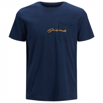 Kurzarm-T-Shirt mit Schriftzug marine_NAVY | 4XL