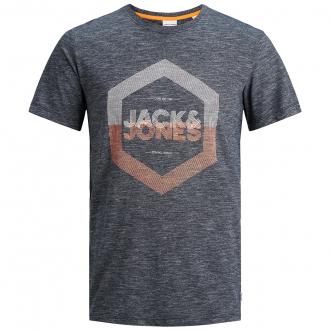 T-Shirt meliert mit Neon-Print marine_NAVY | 3XL