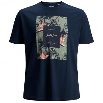T-Shirt mit Logo- und Tropicalmotiv marine_NAVY | 3XL