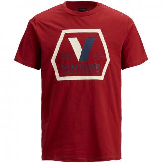 T-Shirt mit Strukturprint (broken) im Vintage-Stil rot_RED | 5XL