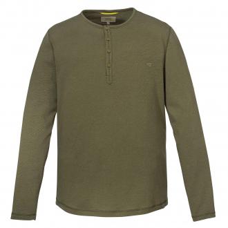 Langarmshirt mit Serafino-Kragen oliv_73   4XL
