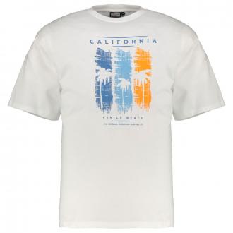 "T-Shirt mit großem ""California""-Frontprint weiß_100   5XL"