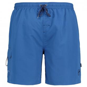 Badeshort mit praktischen Taschen und Palmenstickerei blau_340 | 3XL