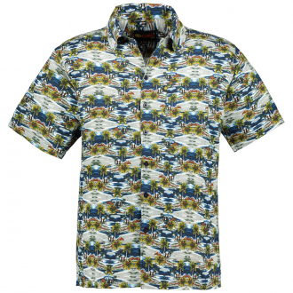 """Hawaii"" Baumwoll-Freizeithemd, kurzarm blau/grün_BLAU/GRÜN   6XL"