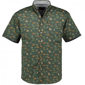 Baumwoll-Freizeithemd mit Auto Allover-Print, kurzarm khaki_KHAKI | 5XL