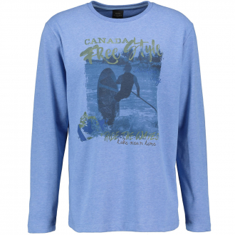 Langarm T-Shirt mit Frontprint blau_5279 | 4XL