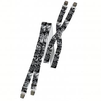 Modisch bedruckte Hosenträger, extra breit schwarz_01/10   130