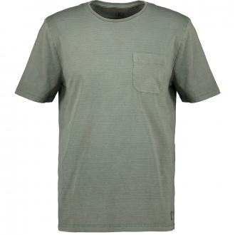 Dezent gestreiftes T-Shirt mit Brusttasche grün_575 | 5XL