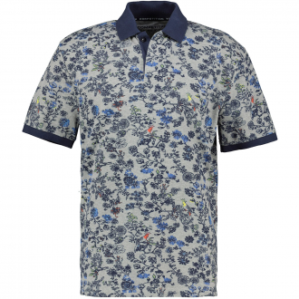 Strukturiertes Poloshirt mit floralem Allover Print hellgrau_5130 | 3XL